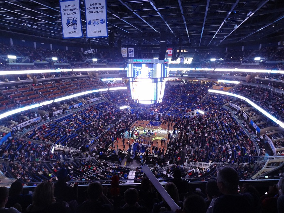 A photo of the crowd at an Orlando Magic NBA game.